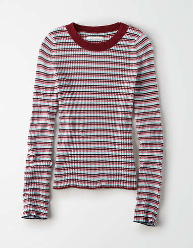 AE Multi-Striped Crew Neck Bodycon Sweater