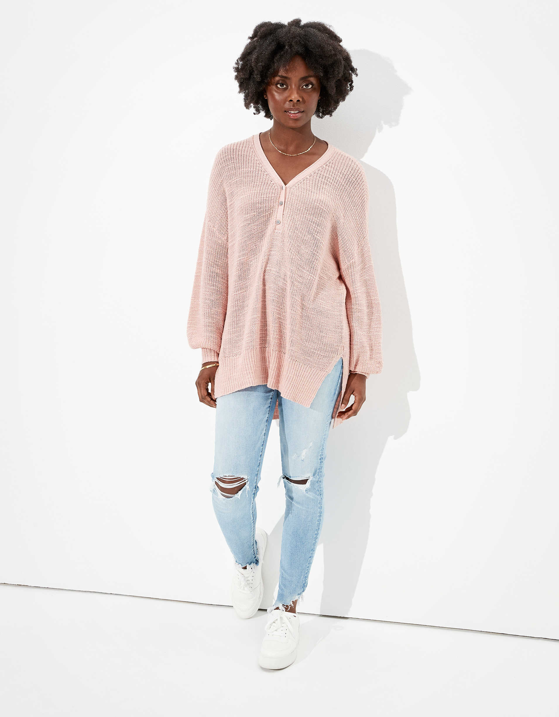 AE Oversized Henley Sweater