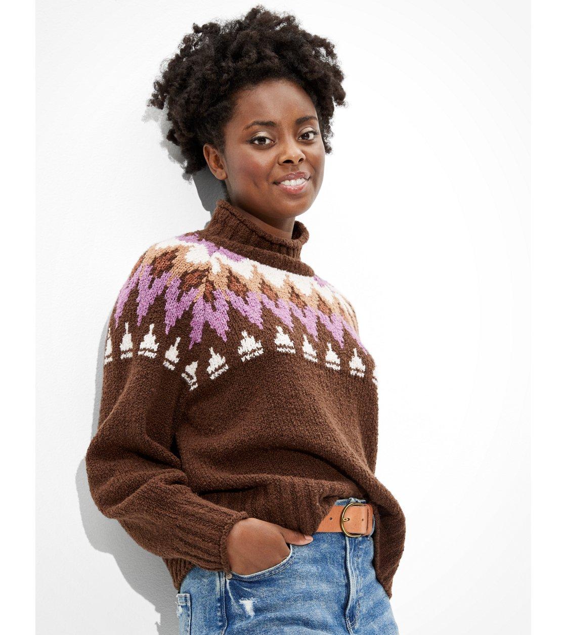 American Eagle AE Fairisle Mock Neck Sweater