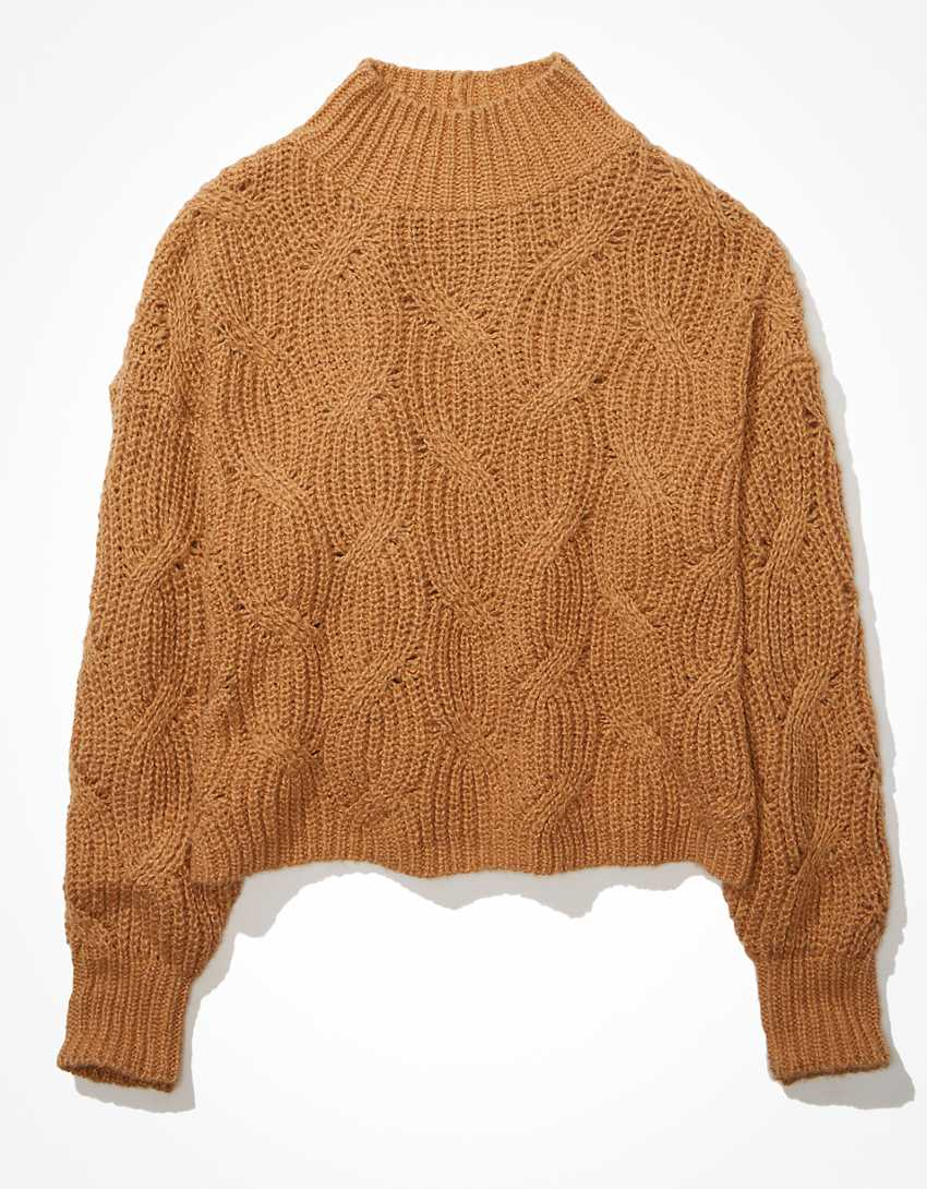AE Cable Knit Mock Neck Sweater