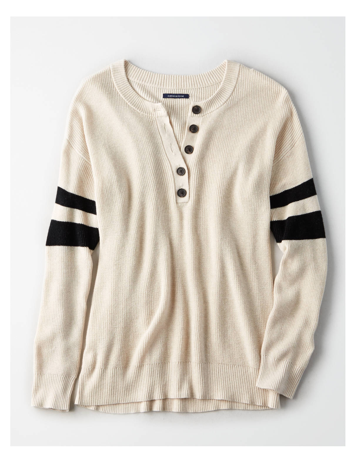 AE Varsity Stripe Henley Pullover Sweater