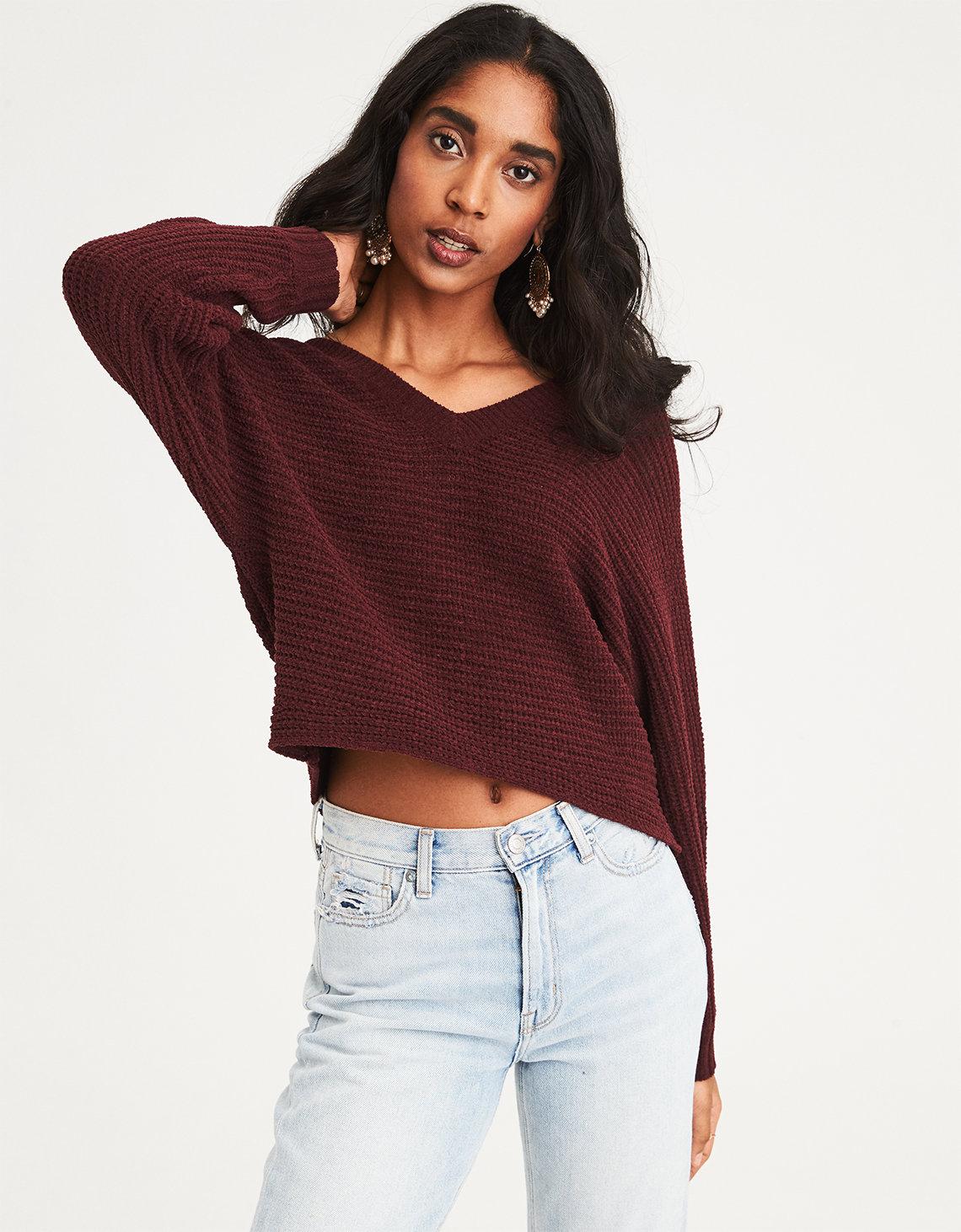 9e58545efb65fe AE Chenille V-Neck Cropped Sweater. Placeholder image. Product Image