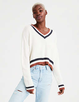 AE V-Neck Cropped Pullover Sweater