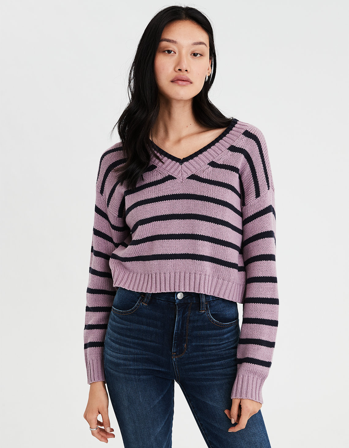 b6c7cb519c3 AE Striped V-Neck Pullover Sweater. Placeholder image. Product Image