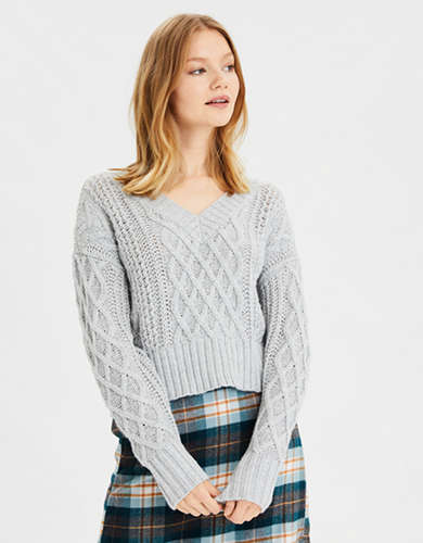 AE V-Neck Cropped Cable Knit Sweater