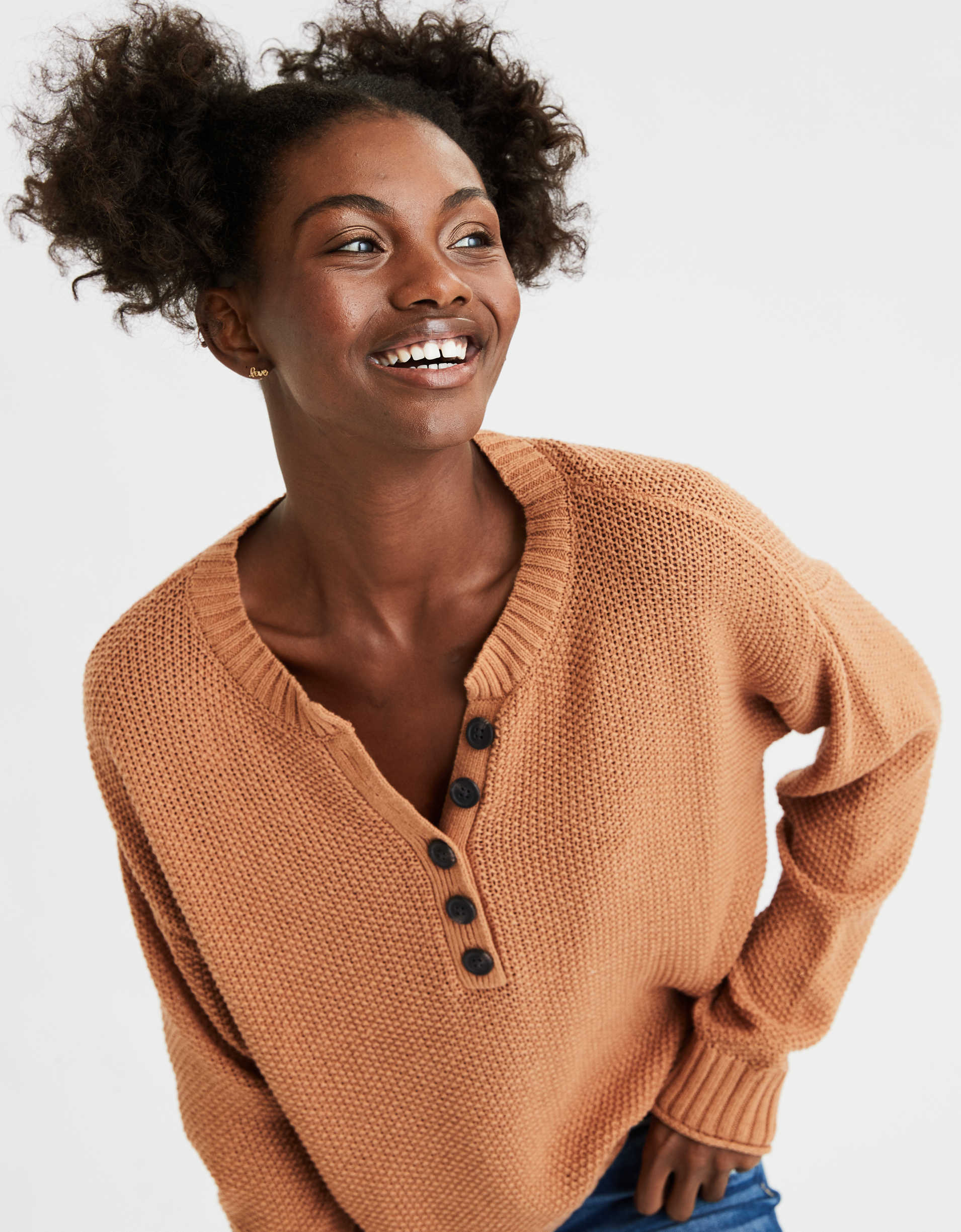 AE Oversized Henley Pullover Sweater