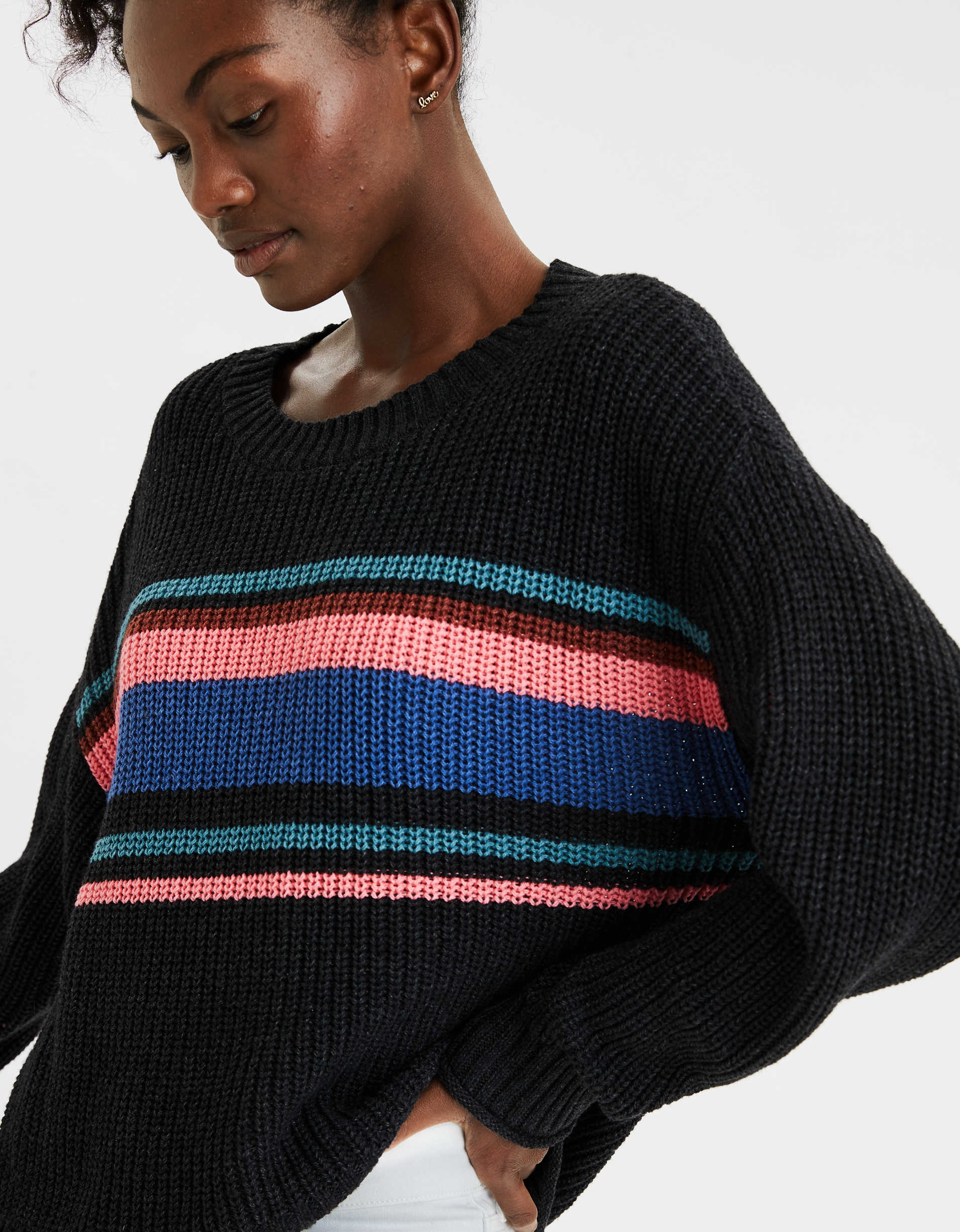 AE Striped Crew Neck Oversized Sweater