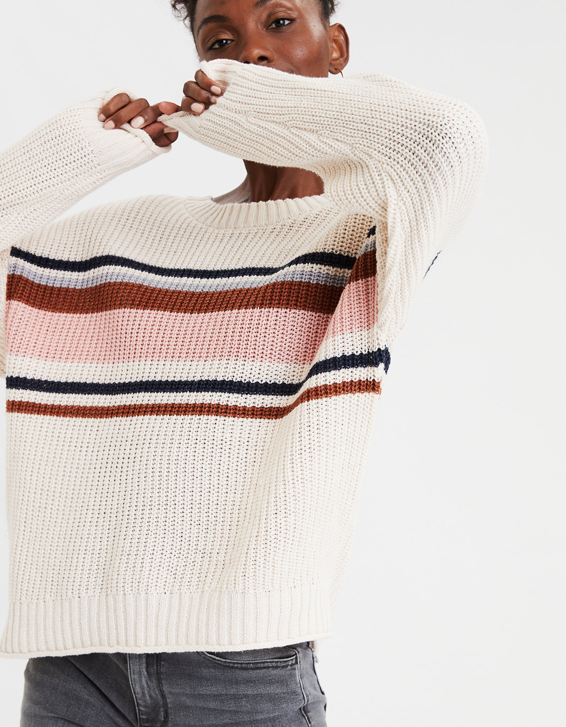 Ae Striped Crew Neck Oversized Sweater by American Eagle Outfitters