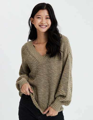AE Pointelle V-Neck Oversized Sweater