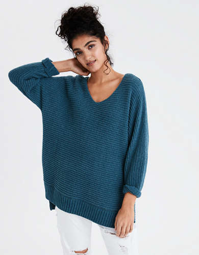 AE V-Neck Side Slit Oversized Sweater