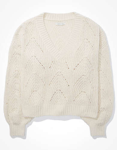 AE Chenille Pointelle V-Neck Sweater