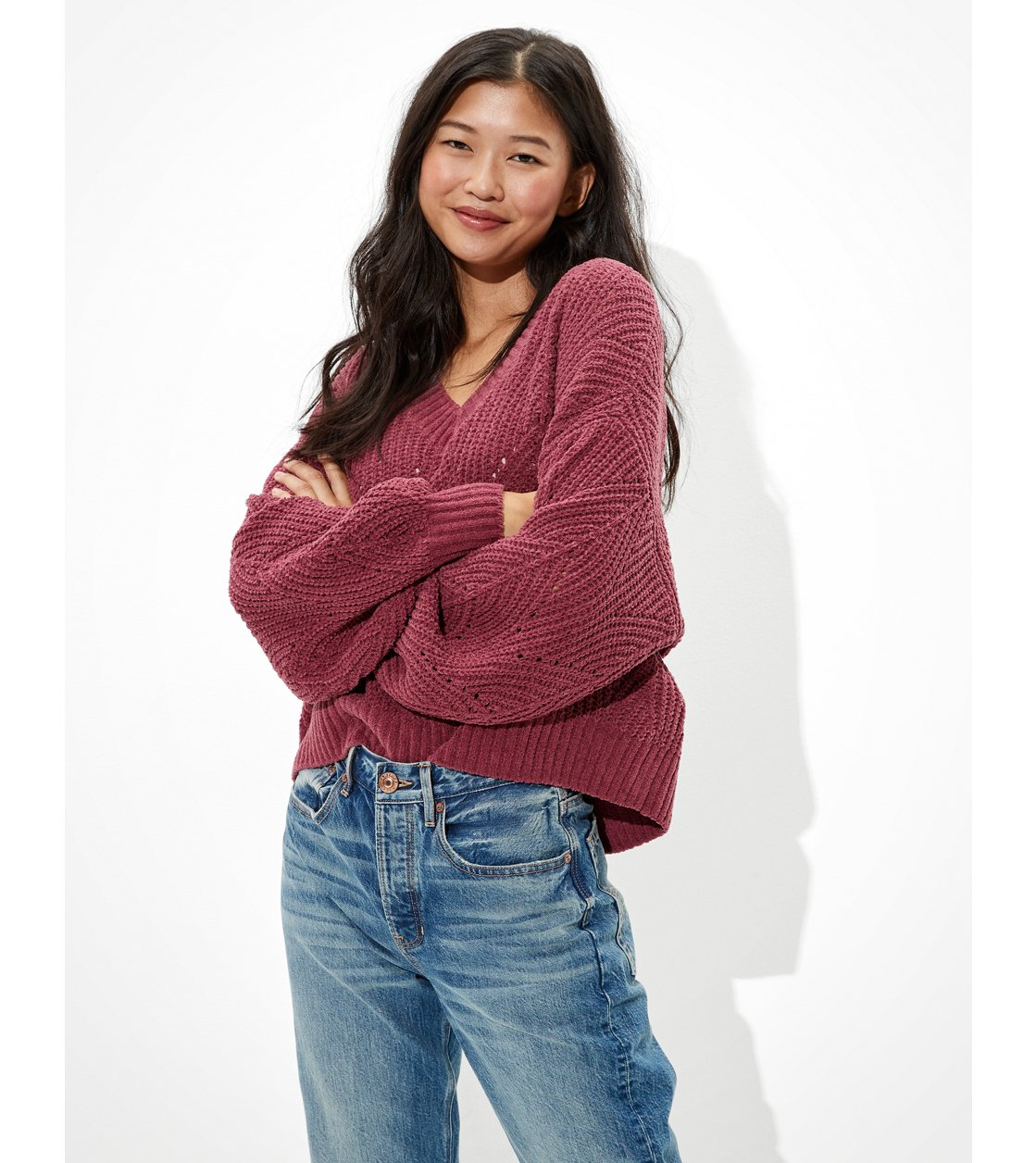 American Eagle AE Chenille Pointelle V-Neck Sweater