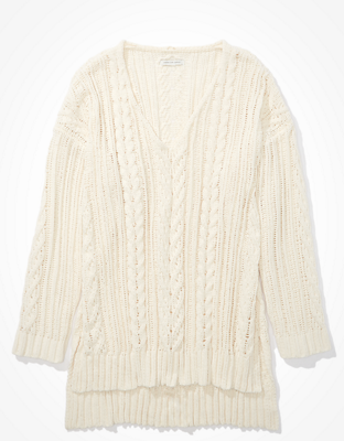 AE Cable Knit V-Neck Sweater