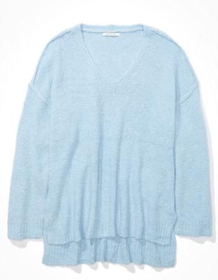 Рельефный свитер оверсайз с V-образным вырезом AE