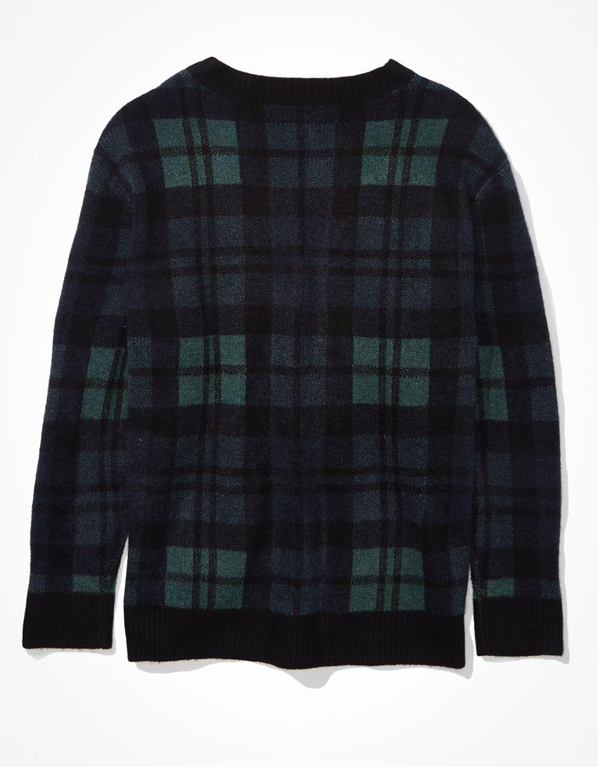 AE Oversized Plaid  V-Neck Sweater