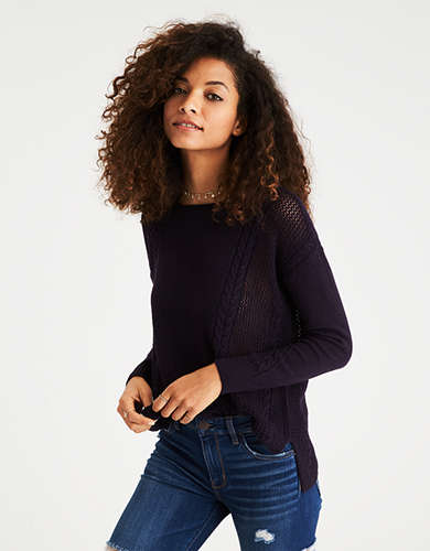 Nylon Crew Neck Sweater | American Eagle Outfitters