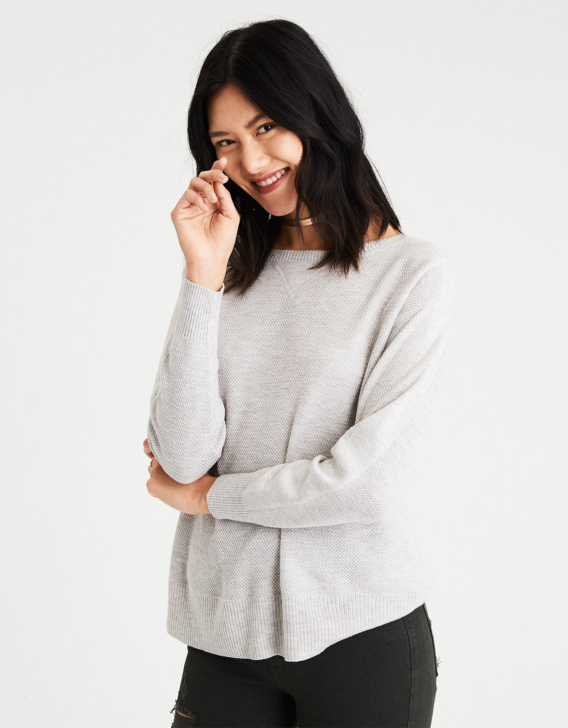 AE Layer-Perfect Lightweight Sweater, Gray | American Eagle Outfitters