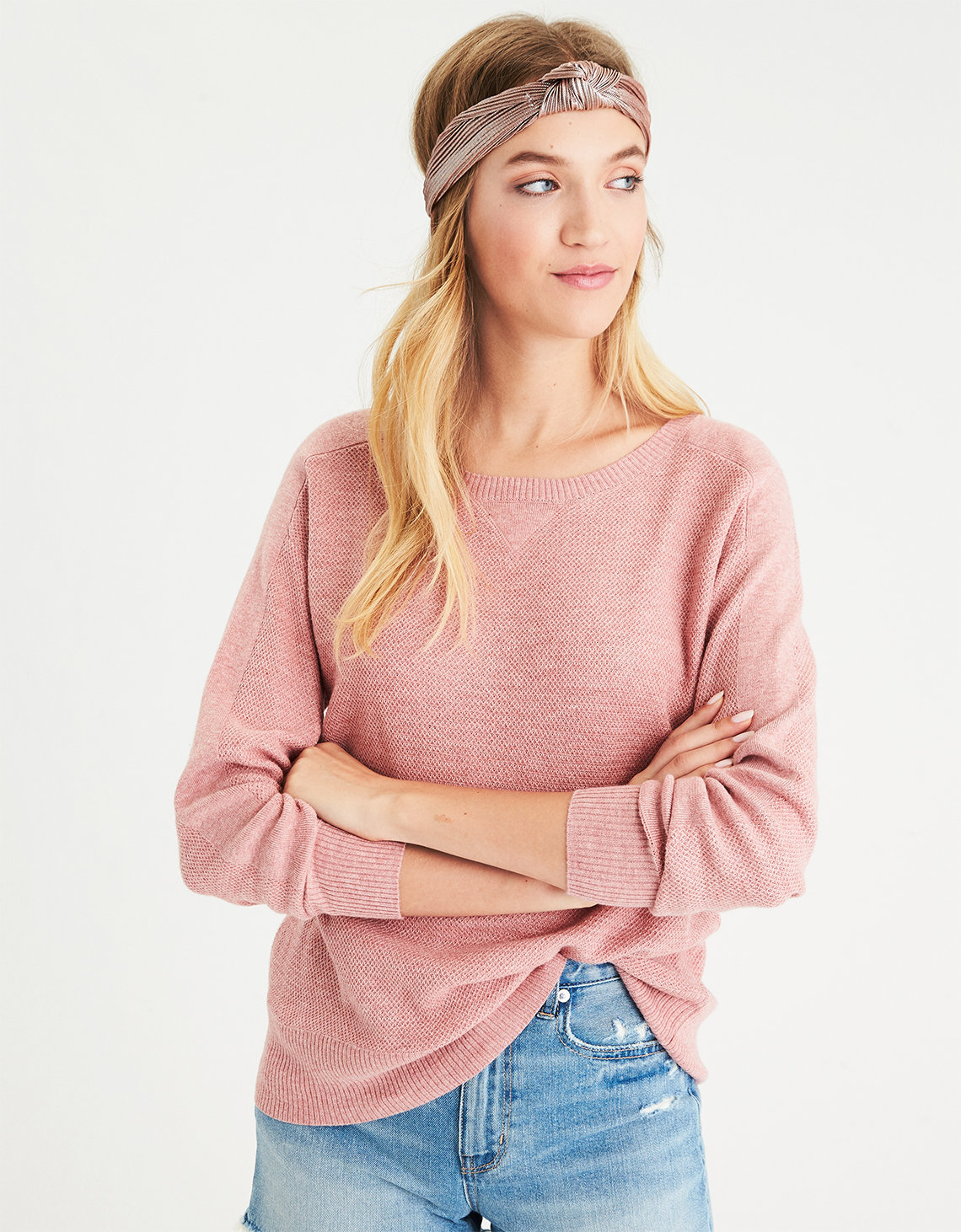 AE Layer-Perfect Lightweight Sweater, Pink | American Eagle Outfitters