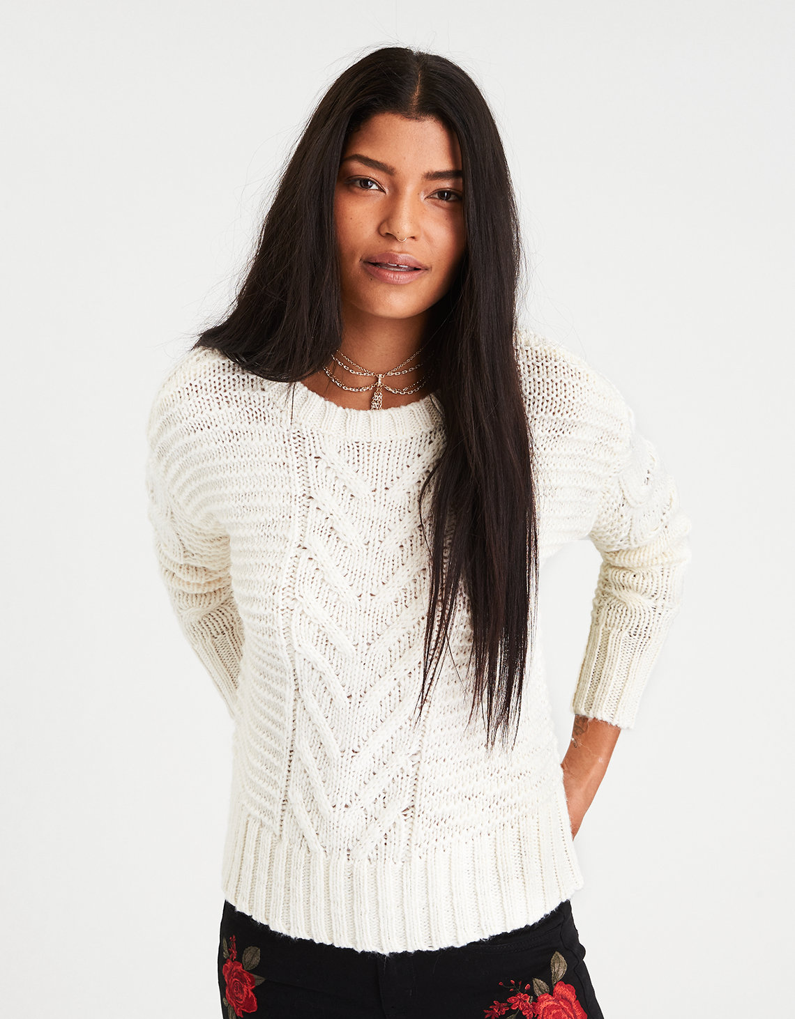 AE Chunky Cable Knit Sweater, Cream | American Eagle Outfitters