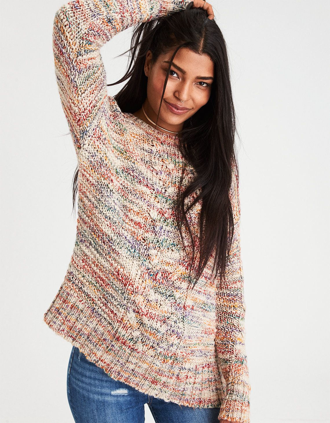 AE Chunky Cable Knit Sweater, Oatmeal | American Eagle Outfitters