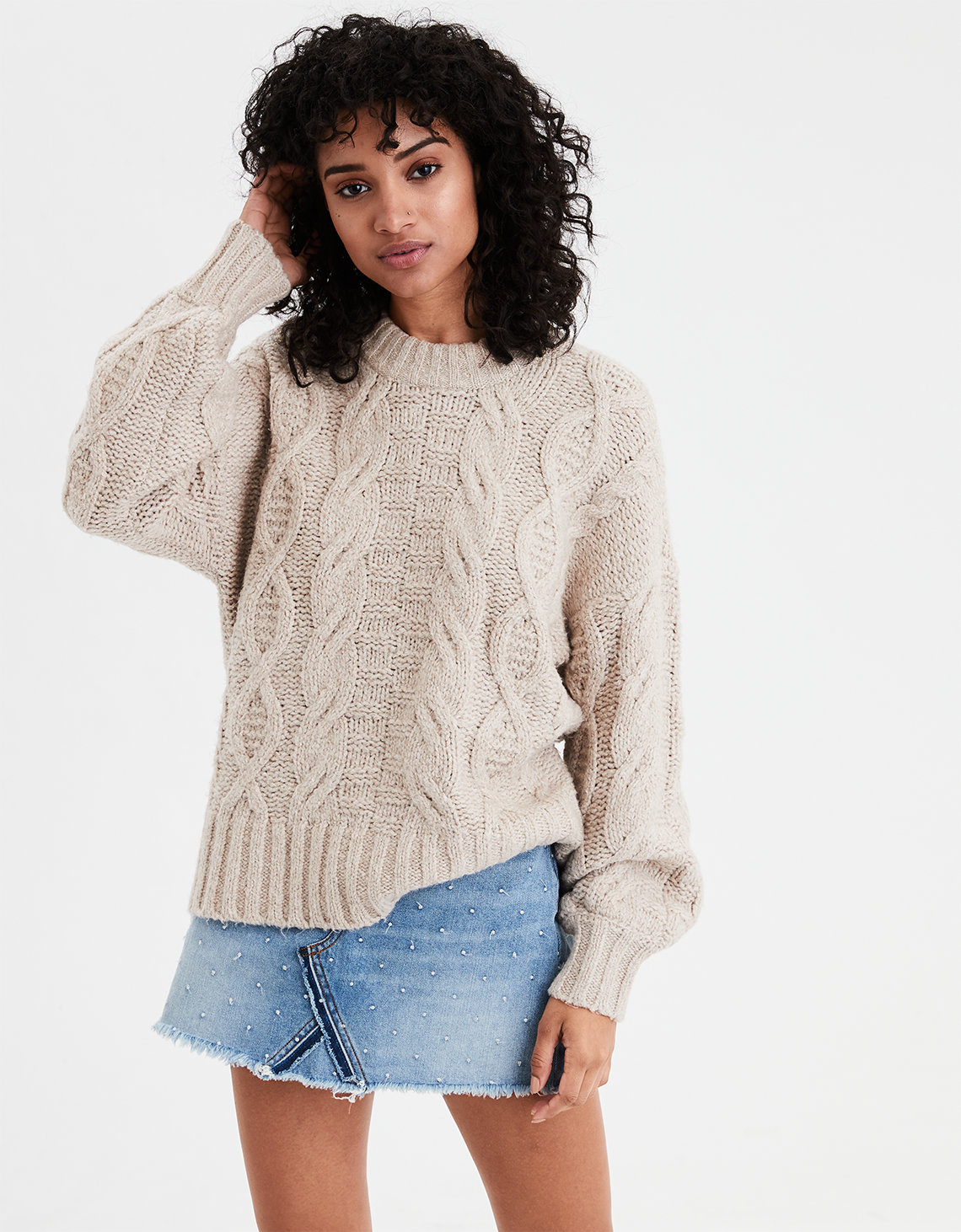 97906de821f774 AE Chunky Cable Knit Pullover Sweater. Placeholder image. Product Image