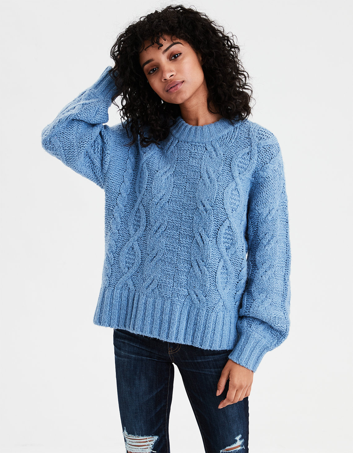 ba05d89fdda AE Chunky Cable Knit Pullover Sweater. Placeholder image. Product Image