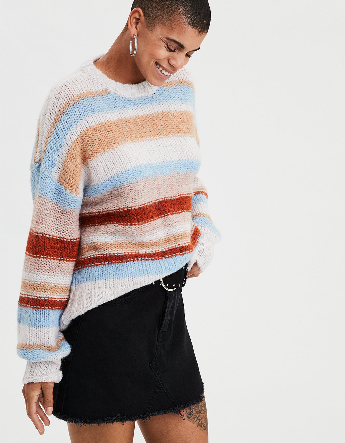 8bb6ae7255 AE Multi-Stripe Pullover Sweater. Placeholder image. Product Image