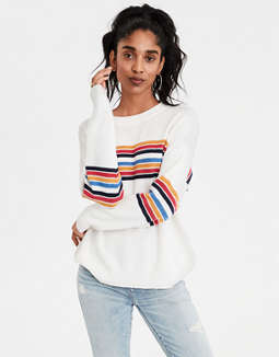 AE Chest Stripe Pullover Sweater