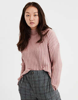Ae Cropped Rib Knit Pullover Sweater by American Eagle Outfitters