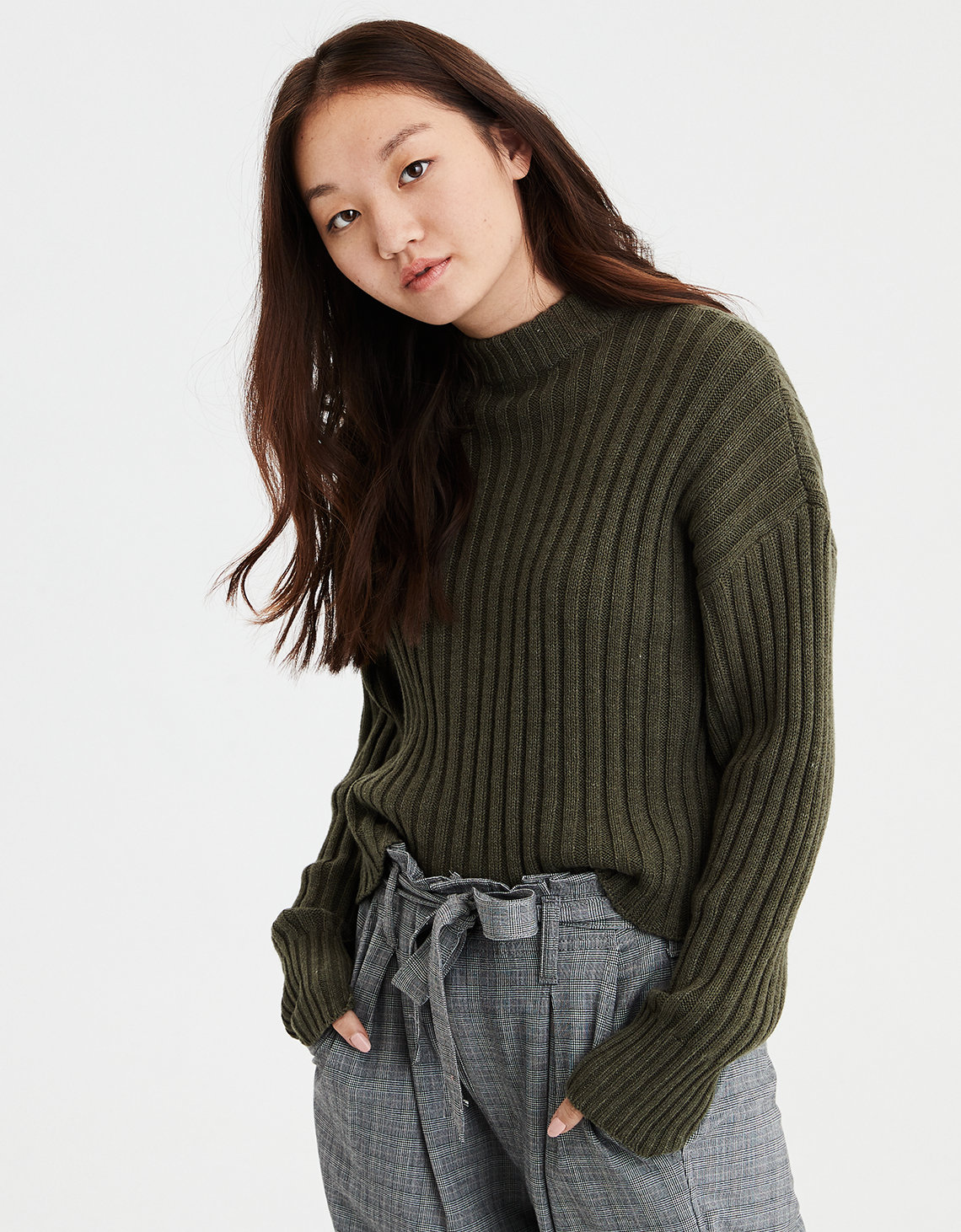 2293d3a02674e2 AE Cropped Rib Knit Pullover Sweater. Placeholder image. Product Image