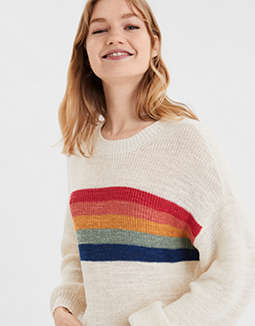 AE Rainbow Striped Pullover Sweater