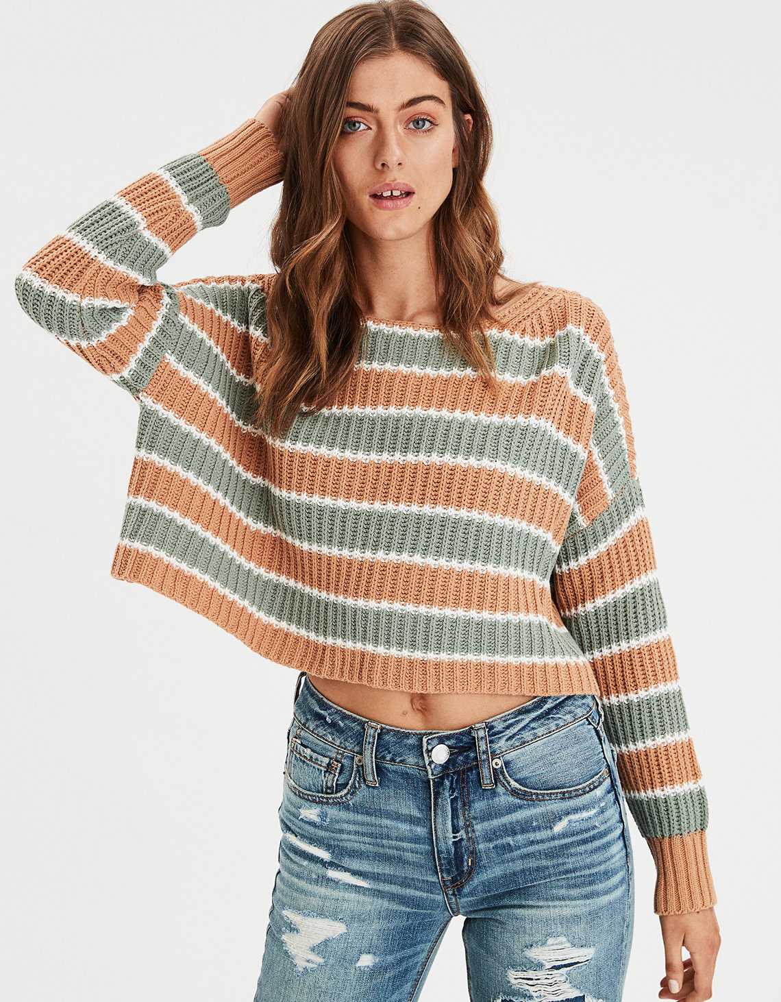df384fb237 AE Striped Crop Pullover Sweater. Placeholder image. Product Image