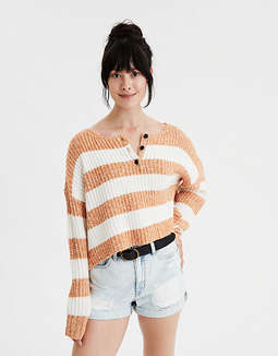 AE Henley Boxy Cropped  Sweater