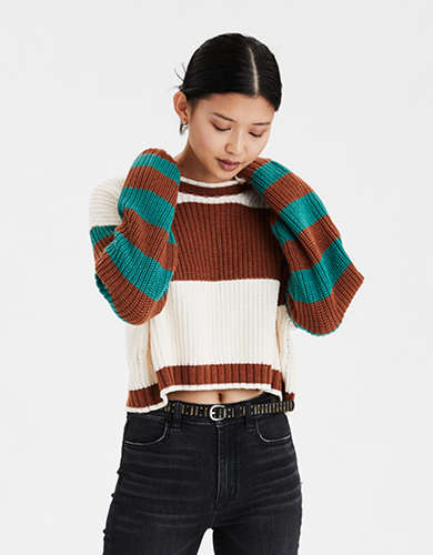 AE Mixed Stripe Boxy Cropped Sweater