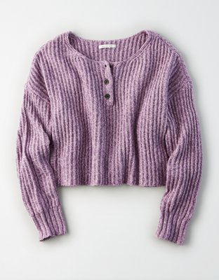 Ae Cropped Henley Sweater by American Eagle Outfitters