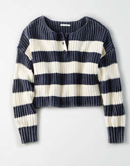 AE Striped Acid Wash Henley Sweater