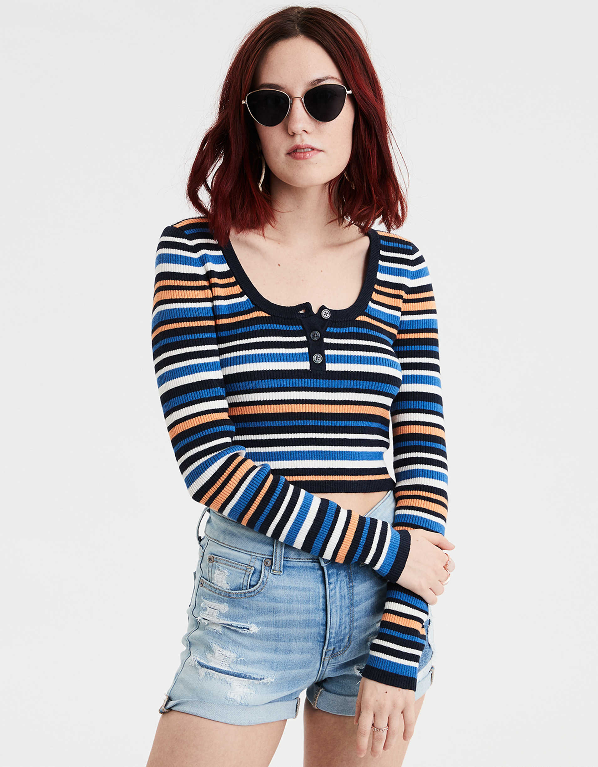 AE Striped Henley Bodycon Sweater