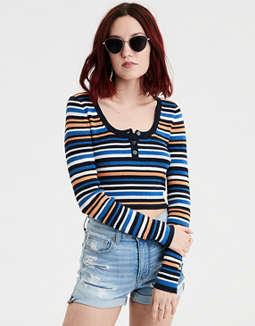 AE Striped Bodycon Henley Pullover Sweater