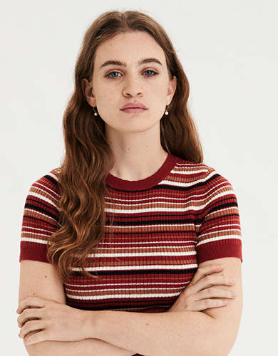 AE Multi Stripe Ribbed T-Shirt