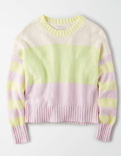 AE Color Block Crew Neck Sweater