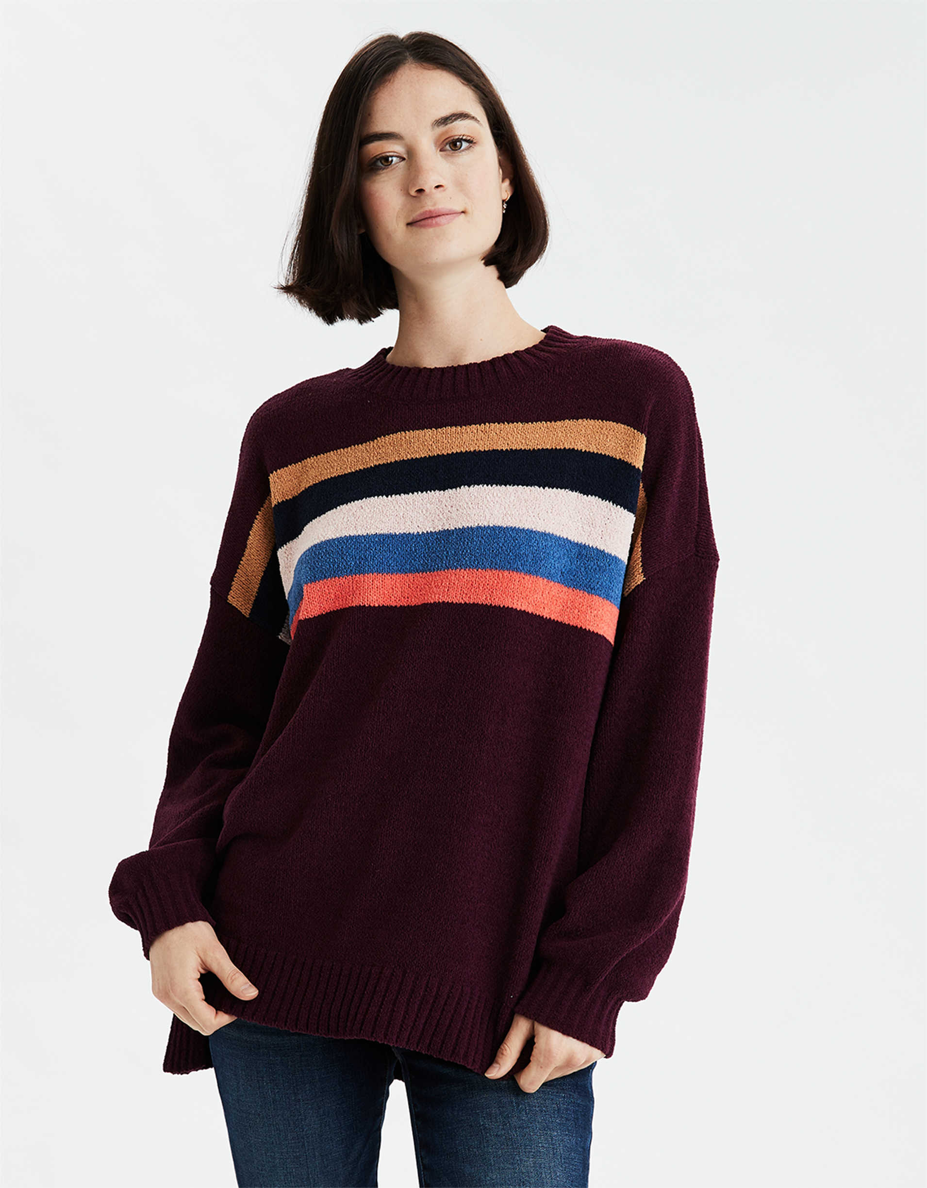 AE Chenille Striped Crew Neck Oversized Sweater