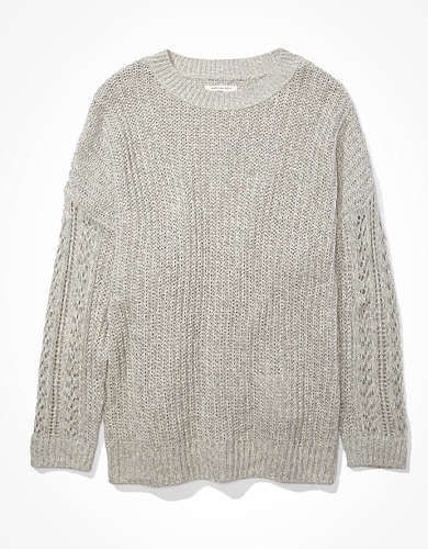 AE Oversized Pointelle Sleeve Crew Neck Sweater