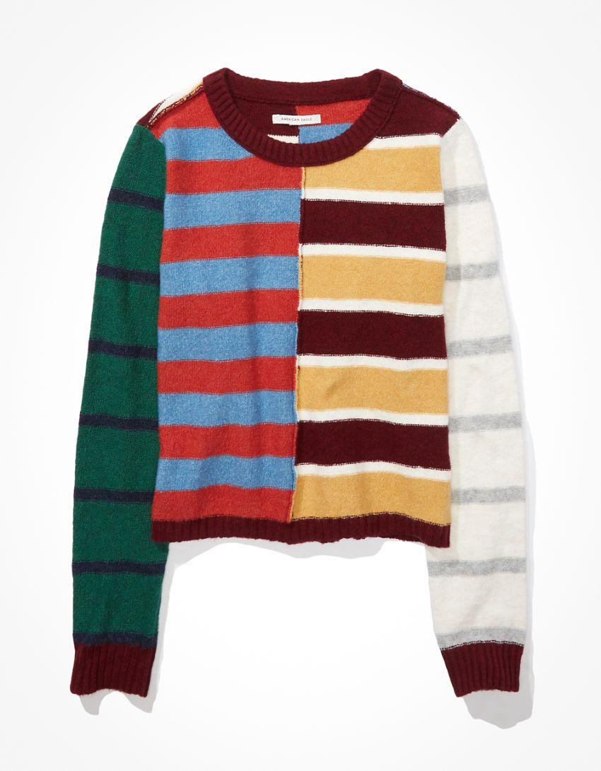 AE Patchwork Crew Neck Sweater