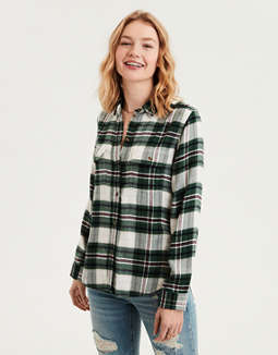AE Plaid Shirt Jacket