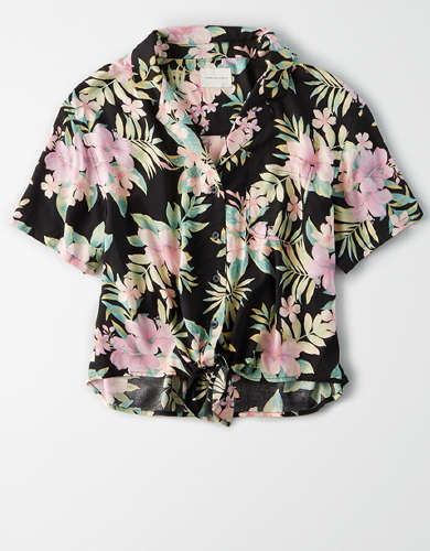 AE Printed Tie Front Button Up Shirt