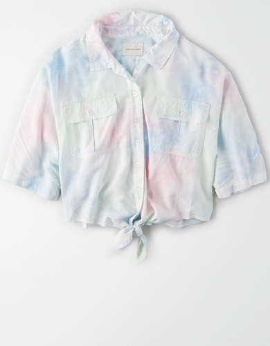 AE Short Sleeve Tie Front Button Up Shirt