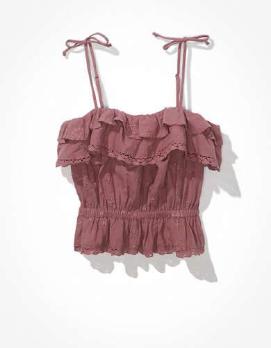AE Eyelet Ruffled Tie-Strap Crop Top