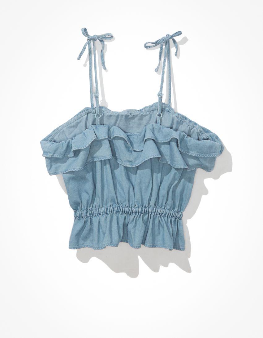 AE Denim Ruffled Tie-Strap Crop Top