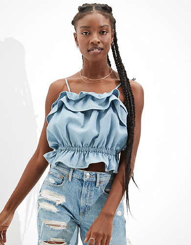 AE Denim Ruffled Tie-Strap Crop Top