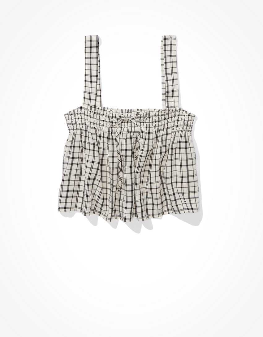 AE Plaid Tie-Front Top